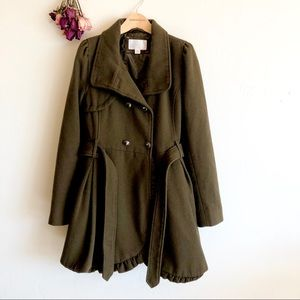Xhilaration Army green/olive Pea Coat size M EUC